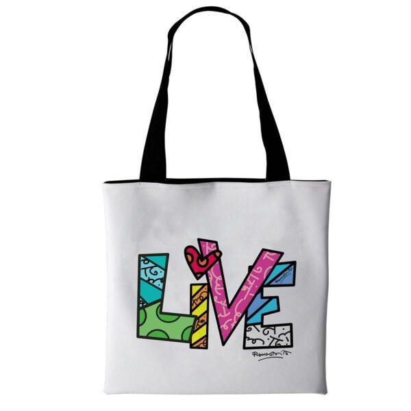 borsa di tipo tote bag in morbida ecopelle bianca con testo live stilizzato di Romero Britto