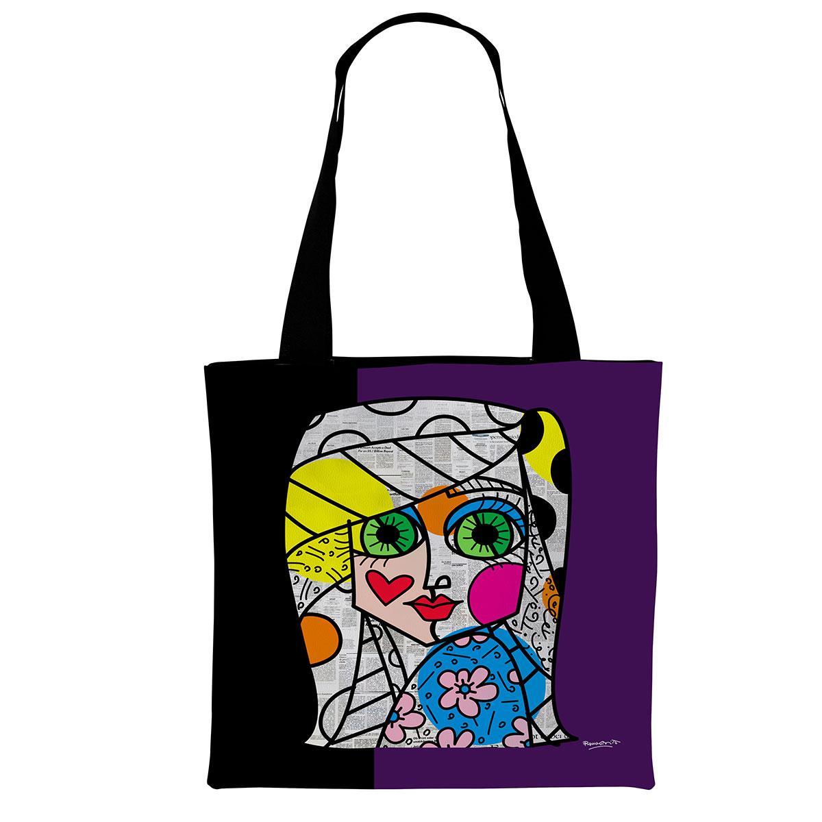 borsa di tipo tote bag in morbida ecopelle nera con grafica di donna stilizzata di Romero Britto
