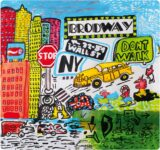tovaglietta americana quadrata con artwork pop di New York di Luciano Lunazzi