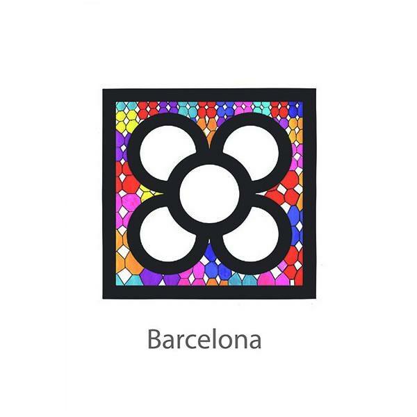 cARTolina in Tyvek leggera e impermeabile con grafica raffigurante un fiore bianco stilizzato su sfondo colorato stile vetro piombato