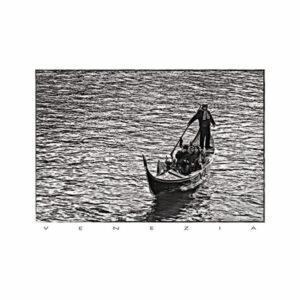 cARTolina in Tyvek leggera e impermeabile con grafica raffigurante una fotografia in bianco e nero di una gondola a Venezia
