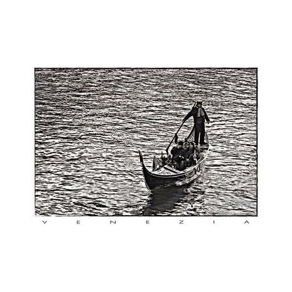 cARTolina in Tyvek leggera e impermeabile con grafica raffigurante una fotografia in bianco e nero di una gondola e gondoliere a Venezia