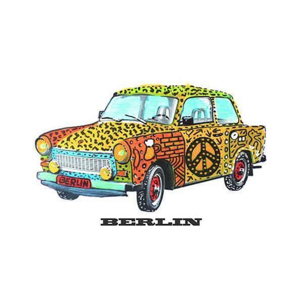 cARTolina in Tyvek leggera e impermeabile con grafica raffigurante una trabant decorata con vari colori e il simbolo di pace