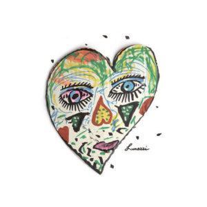 cARTolina in Tyvek leggera e impermeabile con grafica raffigurante un viso a forma di cuore dipinto con diversi colori e forme astratte