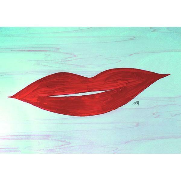 cARTolina in Tyvek leggera e impermeabile con grafica raffigurante labbra femminili rosse su sfondo azzurro