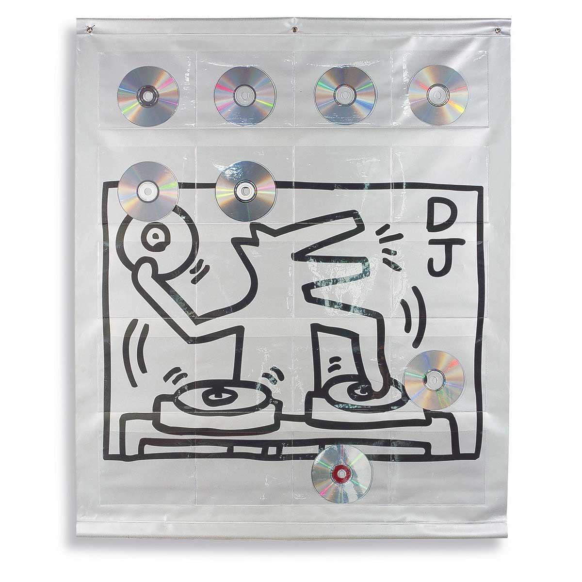 Portaoggetti da parete in pvc con stampa digitale con pattern pop e 20 tasche trasparenti