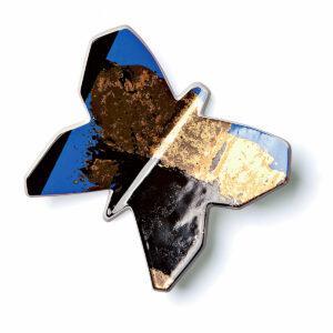 Farfalla decorativa magnetica in ceramica con artwork artistico