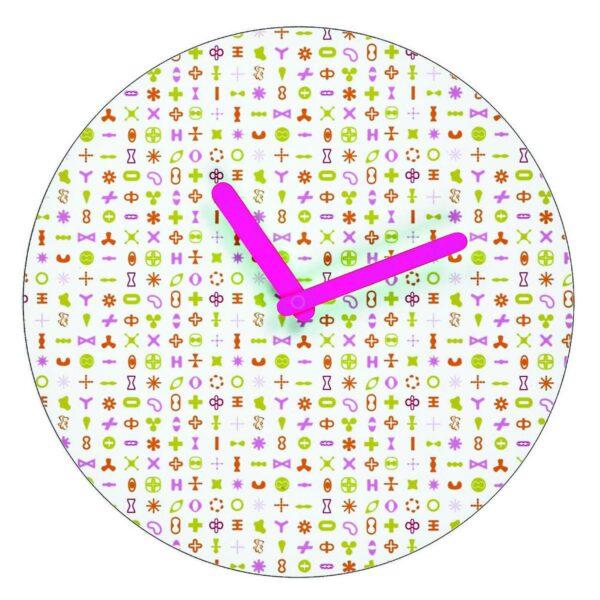 Orologio da parete circolare bianco con grafica di Karim Rashid