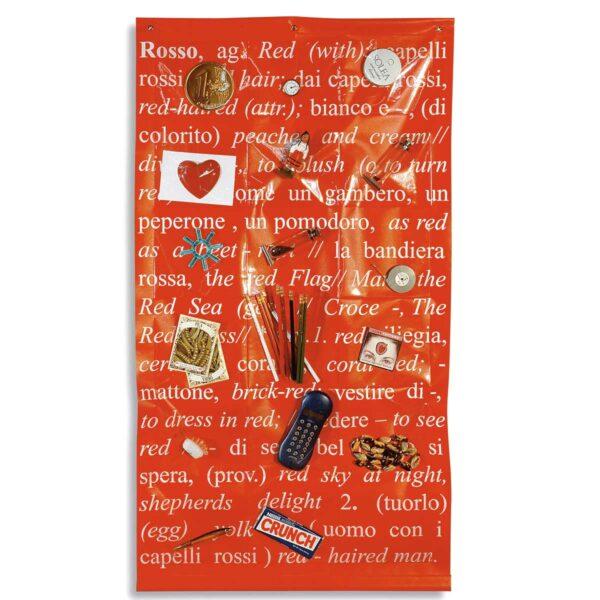 Portaoggetti da parete in pvc rosso con stampa digitale con testo bianco e 18 tasche trasparenti
