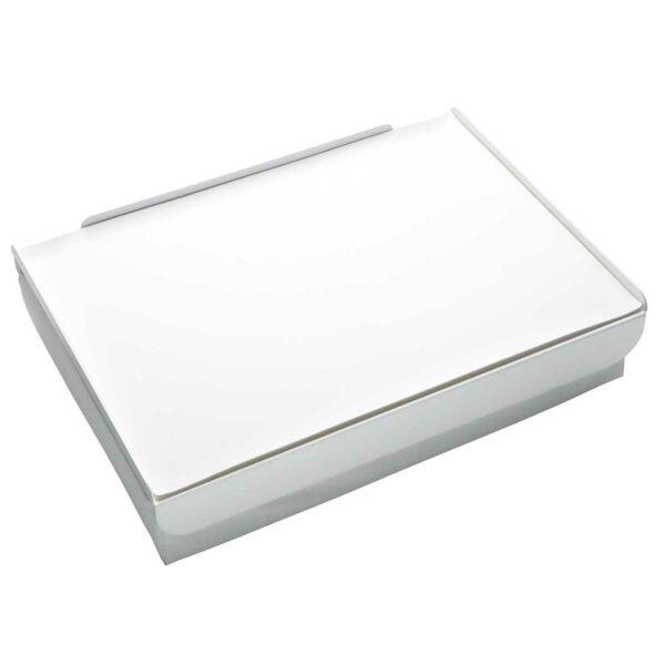 Vassoio da letto composto da un morbido cuscino, un piano in metallo e tovaglietta in ecopelle: colore bianco