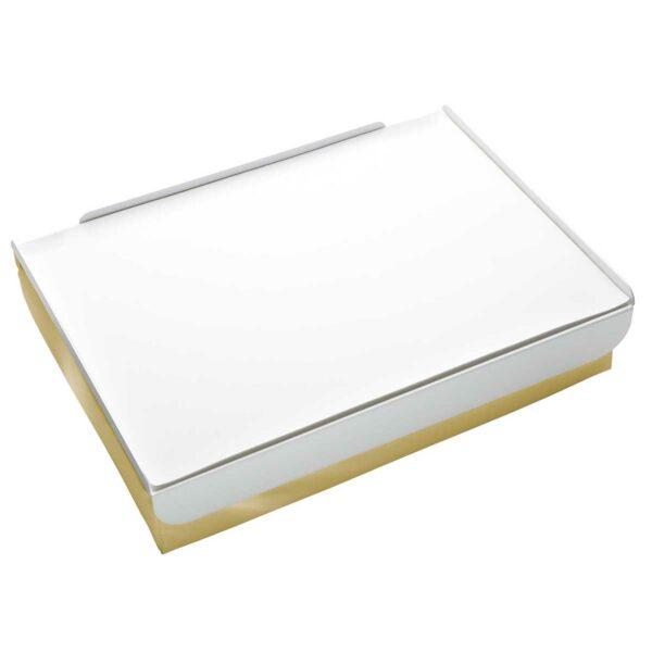 Vassoio da letto composto da un morbido cuscino, un piano in metallo e tovaglietta in ecopelle: colore bianco e oro