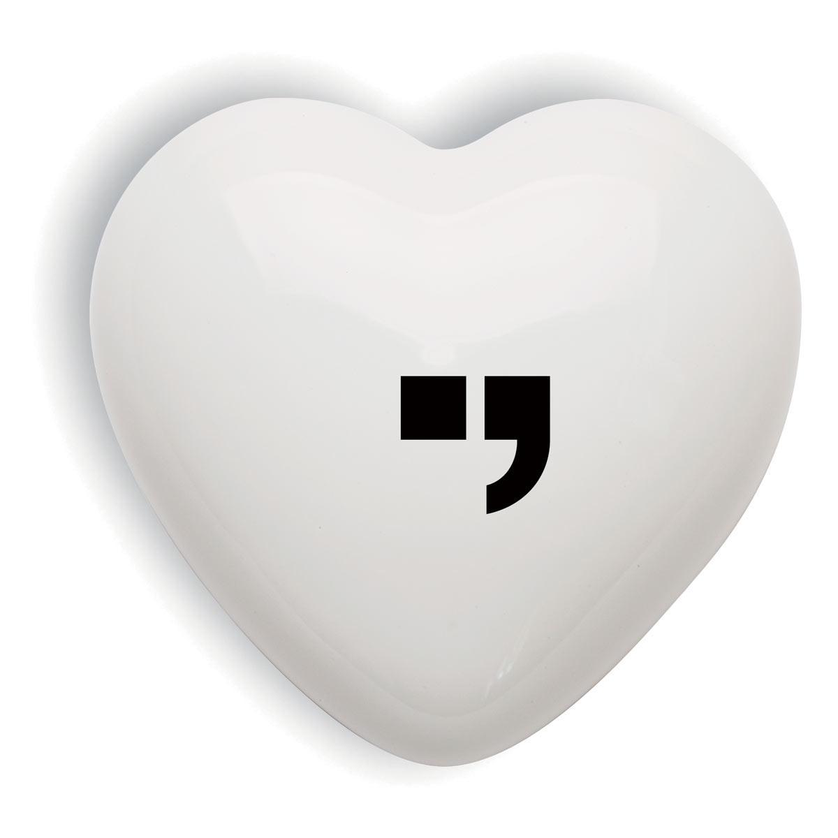 Cuore di ceramica bianco con versi in Inglese retro con simbolo ; in orriziontale