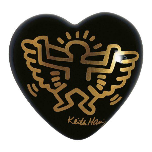 Cuore di ceramica nero con grafica di Keith Haring