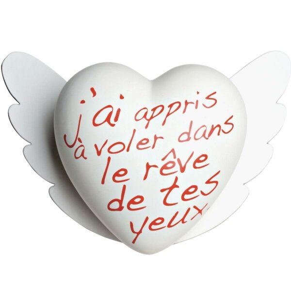 Cuore di ceramica bianco con testo francese in rosso di Cinzia Pascutto & Laura Ellero