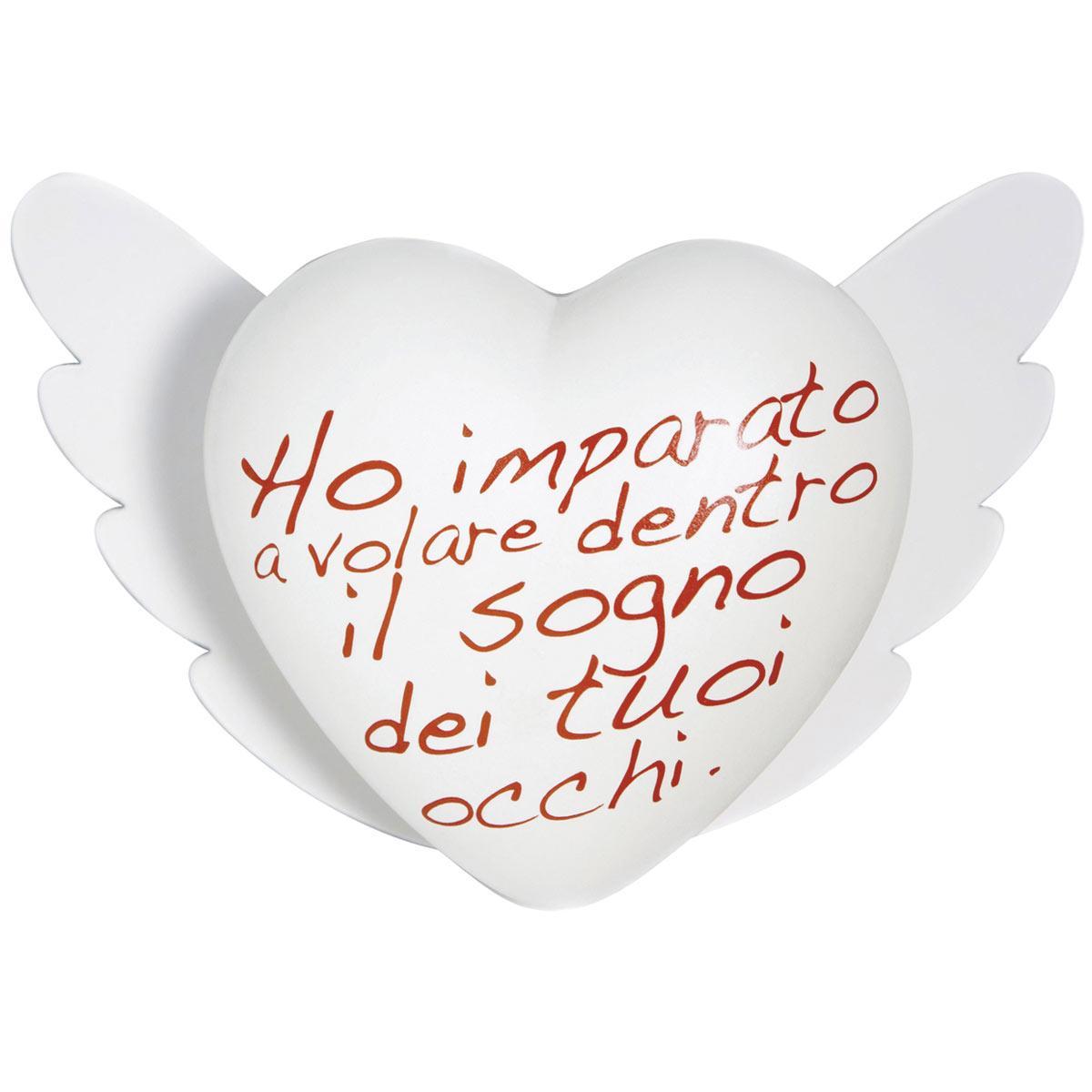 Cuore di ceramica bianco con testo italiano in rosso di Cinzia Pascutto & Laura Ellero