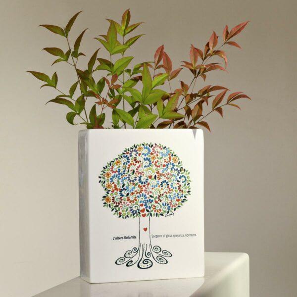 vaso rettangolare alto raffigurante un albero della vita con foglie colorate