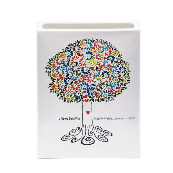 vaso alto in ceramica bianca raffigurante l'albero della vita con foglie colorate