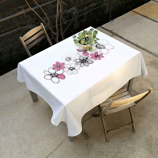 Tovaglia bianca 100% cotone con artwork centrale stilizzato a tema fiore modello large