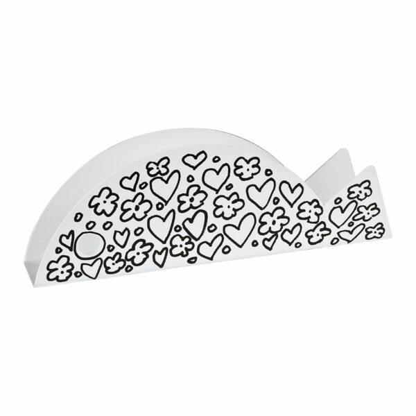 portabuste o portatovaglioli a forma di pesce con un decoro bianco e nero