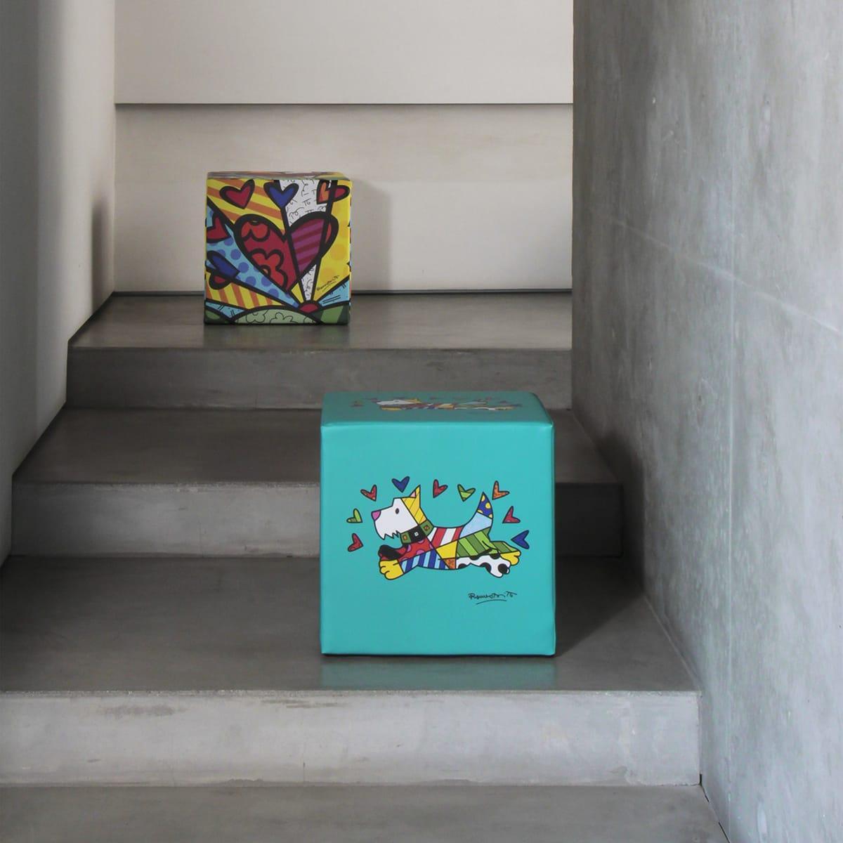 due pouf colorati a forma di cubo