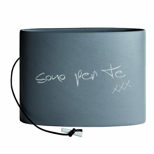 vaso grande in cermica con smalto effetto cemento fornito di gessetto bianco per scriverci sopra una dedica