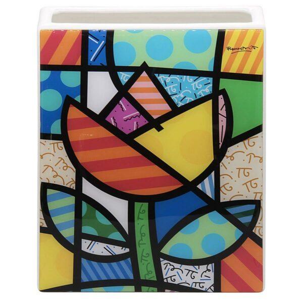 Vaso in ceramica bianca con artwork su resina di Romero Britto