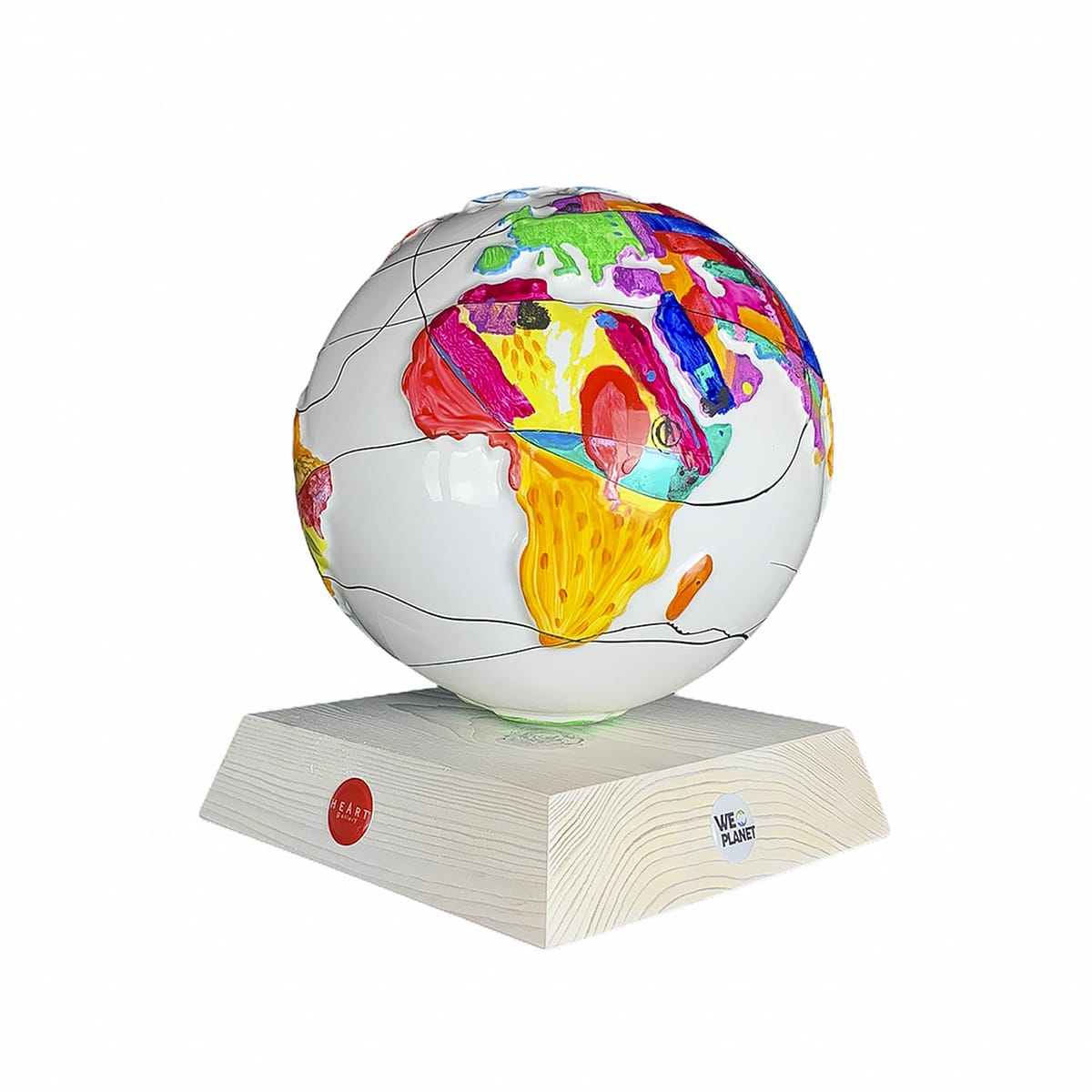 soprammobile in ceramica dipinto a mano a forma di pianeta terra