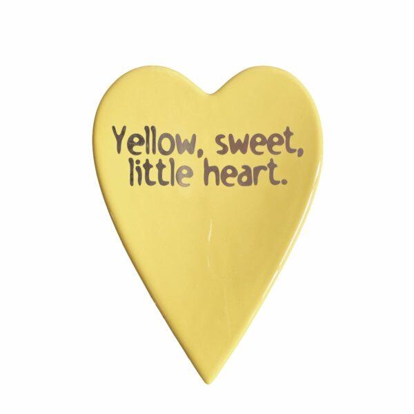 sottopentola in ceramica giallo con la scritta yellow sweet little heart
