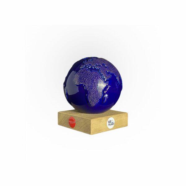 mappamondo design ceramica blu e puntini dorati